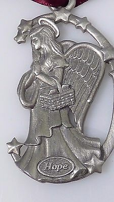 Vintage Hope Angel Longaberger Christmas Tree Ornament 1998 Pewter Collectible