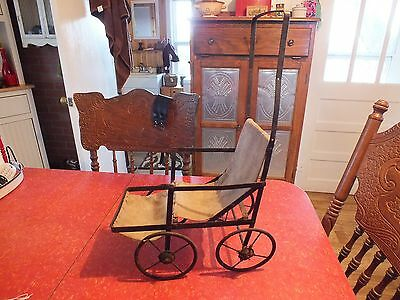 Vintage Doll Stroller Metal And Fabric