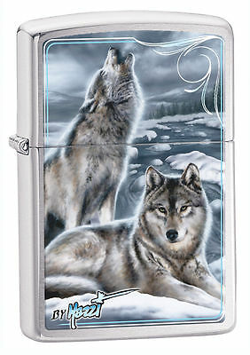 Zippo 28002, Mazzi-Winter Wolves, Brushed Chrome Finish Lighter, Full Size