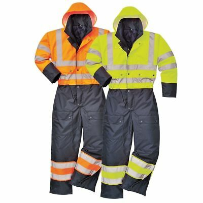 Portwest S485 yellow or orange lined hi-vis work contrast coverall size S-5XL