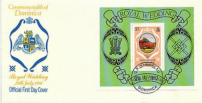 DOMINICA 23 July 1981 ROYAL WEDDING MINIATURE SHEET FIRST DAY COVER