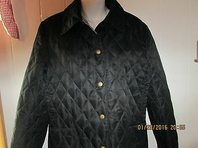 Longaberger Homestead Quilted Barn Jacket Black Brown Khaki Check Sz S