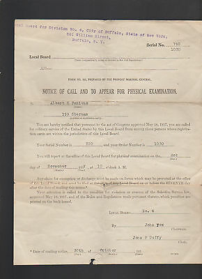 Notice of Call and to Appear for Physical Examination 1917 US Military WWI