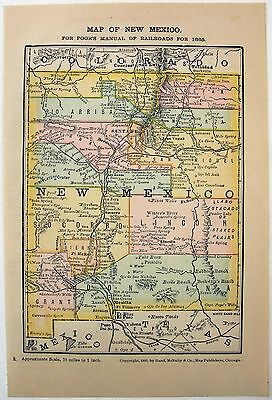 Original 1885 Railroad Map of New Mexico by Rand McNally