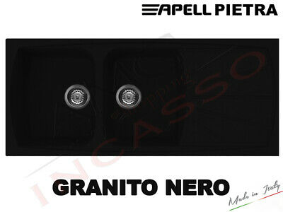 Lavello Fragranite Incasso Cucina Apell PT1162GB cm.116X50 2 Vasche Nero