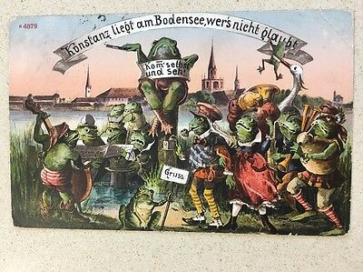 FANTASY POSTCARD DRESSED FROG   A/S GERMAN Conductor And Band 14  Or More FROGS