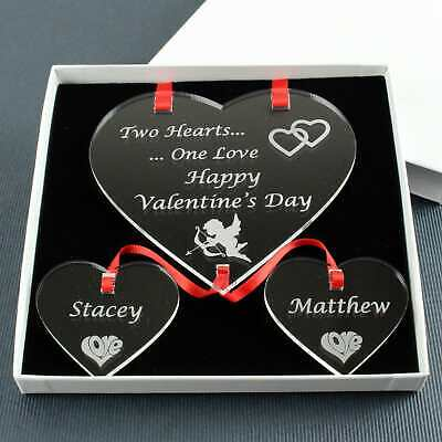 Valentines Gift Present | COUPLE | Two Hearts One Love Keepsake | Personalised