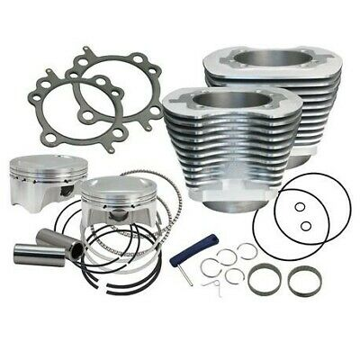 "S&S Cycle 4"" Sidewinder 110"" Big Bore Kit 07-17 HD® Big Twin Cam Silver"
