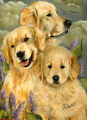 Golden Retriever family limited edition print dog art with double designer mat
