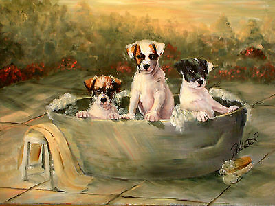 Jack Russell Terrier  limited edition print dog art with double designer mat
