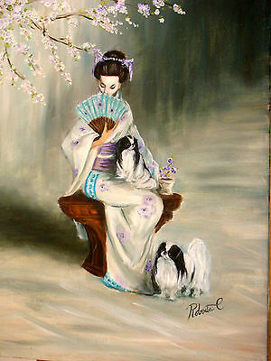 Japanese Chin   limited edition print dog art with double designer mat