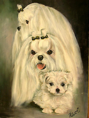 Maltese family limited edition print dog art print with double designer mat