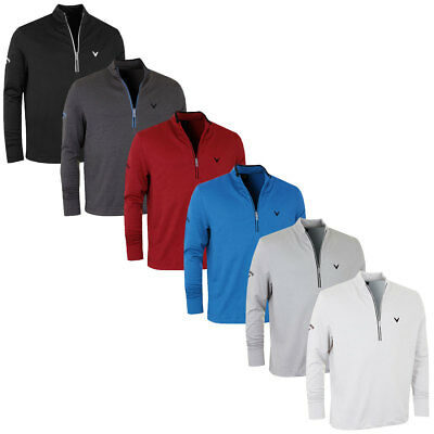 40% OFF RRP Callaway Golf Mens Waffle Fleece Embroidered Chev Sweater Pullover
