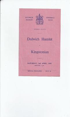 Dulwich Hamlet v Kingstonian Football Programme 1954/55