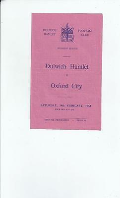 Dulwich Hamlet v Oxford City Football Programme 1952/53