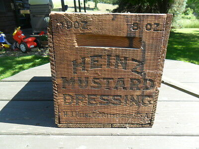 Primitive Antique H J Heinz Mustard Wooden Shipping Box Crate Old Advertising
