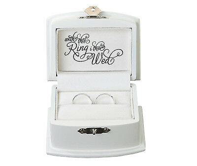 """Alternative White Ring Bearer Box """"with This Ring I Thee Wed"""""""