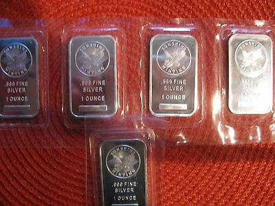 Lot of 5 Sunshine Mintint 1 Troy oz x 5. .999 Fine Silver Bars