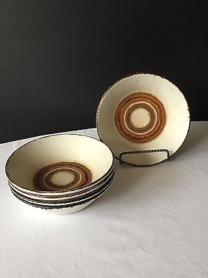 Earth By Midwinter Stonehenge Brown Circles  5 Cereal Soup Bowls 6 1/2""