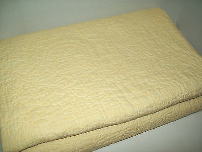 Pottery Barn Belgian Flax Linen Floral Stitched Yellow Full Queen Quilt New