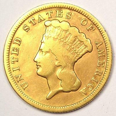1854 Indian Three Dollar Gold Coin ($3) - VF Details (Very Fine) - Rare Coin!