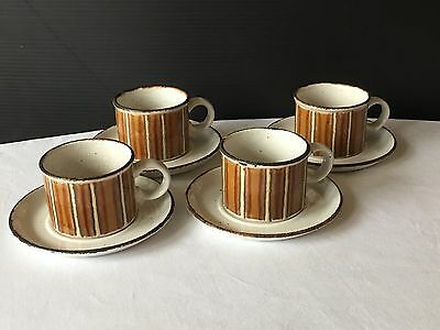 Earth By Midwinter Stonehenge Brown 4 Cups And Saucers
