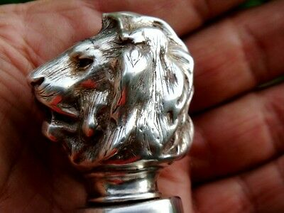 Solid Sterling Silver Cane Walking Stick 925 Lion Head Collector  N/r