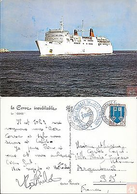 France #1469 - Paquebot CORSE - Posted at Sea 1967 - Marseille Gare St Charles