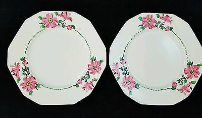 VINTAGE 1930s Art Deco Alfred Meakin England Hand Painted Floral 12 Sided Plates