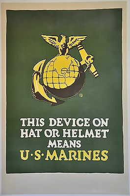 Original WWI USMC Recruiting Poster The Device on the Helmet Means EGA 28x40