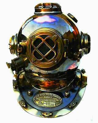 boston U.S NAVY MARK V SOLID COPPER BRASS DIVING DIVERS HELMET FULL SIZE 18""