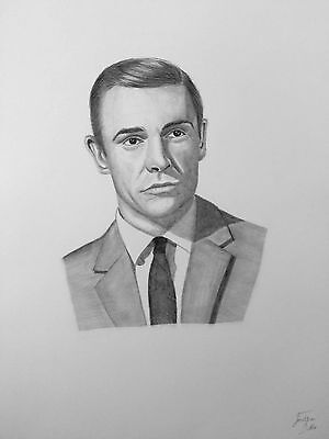 Original Signed A3 pencil drawing of Sean Connery