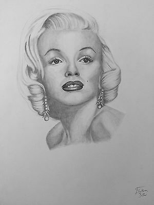 Original signed A3 pencil drawing of Marilyn Monroe