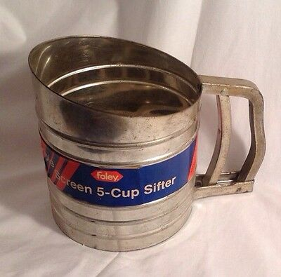 Vintage FOLEY Sift-Chine Triple Screen 5-Cup Sifter No. 138 Original Paper Label