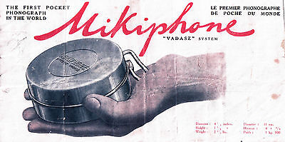 1926 Mikiphone Pocket Phonograph Instruction Manual  In English & French