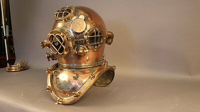 ROYAL  U.S NAVY MARK V SOLID COPPER BRASS DIVING DIVERS HELMET Heavy Model