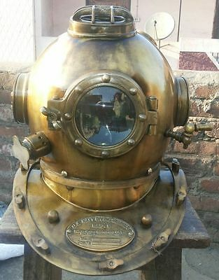 Vintage Us Navy Antique Mark V Diving Divers Helmet Solid Steel Deep Sea Scuba