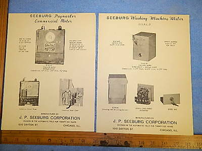 1934 Seeburg Paymaster & Washing Machine Commercial Meter Advertising Flyers
