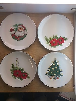4 Triomphe Christmas Holiday Plate Set Tree Santa Holly Silver Rimmed USA 10.5""