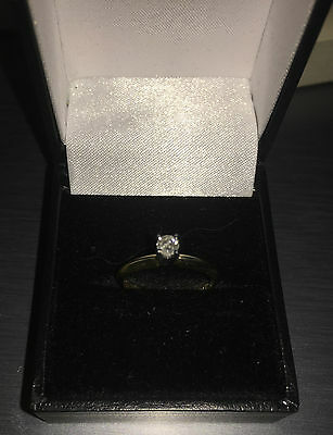 14ct Yellow Gold Lofted Diamond Solitaire Engagement Ring, L, L 1/2, Not 9ct!