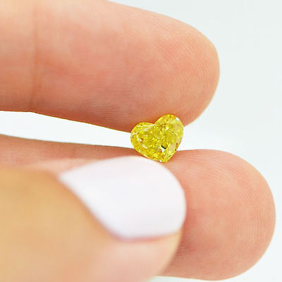 Yellow Heart Cut Natural Loose Diamond 1 Carat VS2 Enhanced For Solitaire Ring