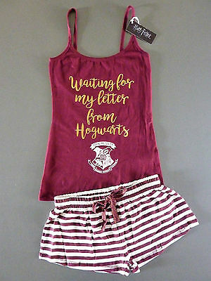 Neu Harry Potter Pyjama Schlafanzug Top + Shorts Hogwarts Brief Letter Primark