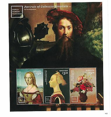 Grenada - Famous Paintings, Galeazzo by Parmigianino, 2015 - Sheetlet of 3 MNH