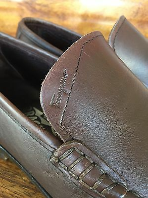 Men's Ferragamo Dress Loafers Dark Brown Leather 10 D Made In Italy