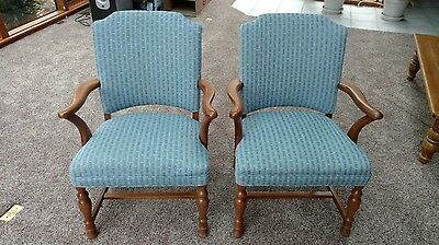 Beautiful Pair of Antique Walnut Upholstered Arm Chairs (Circa 1910)
