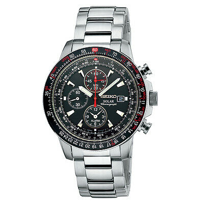 Seiko SSC007 Solar Chronograph Black Dial Stainless Steel Mens Watch