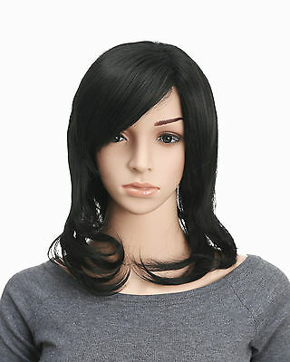 OneDor 18 Inch Women Long Wave Black Full Head Wig with Fringe