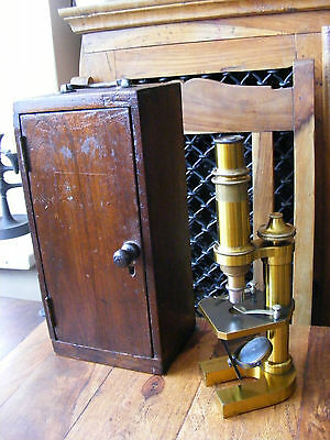 Carl Zeiss Jena No.9171 Brass Antique Microscope in Wooden Case Made in Germany