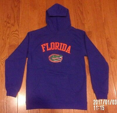 Kids Youth Boys ADIDAS L 14 16 Florida GATORS Logo Blue Hoodie Sweatshirt Hood