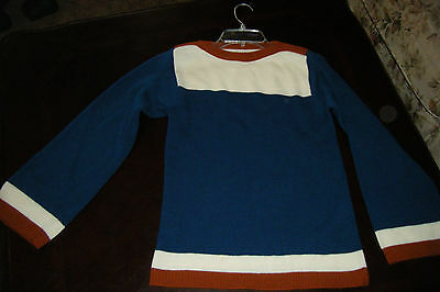 Vintage 1960s 70s Girls Youth  7/8 Long Sleeve Blue SWEATER ILGWU Stripes USA